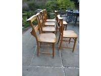 SET OF 6 OLD CHURCH / CHAPEL CHAIRS. Delivery possible. Also : PEWS, TABLE, MONKS BENCH & SETTLE.