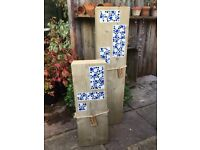 Blue Lagoon. Handcrafted Garden Wooden Mosaic Inlaid Column's