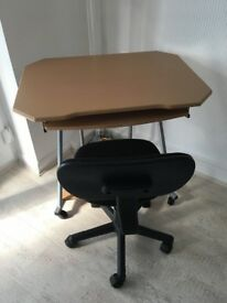 Computer table and chair.