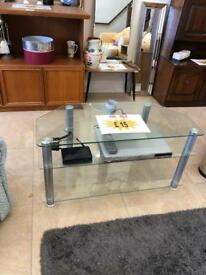 "Clear glass 42"" tv stand"