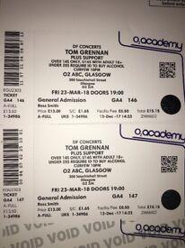 2x Tom Grennan tickets, Glasgow O2 ABC, 23/3/18