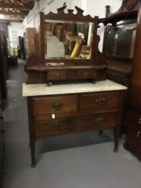 ** ANTIQUE VICTORIAN MARBLE TOP DRESSING TABLE **
