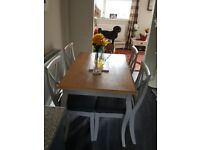 IMMACULATE SOLID TABLE AND 4 CHAIRS
