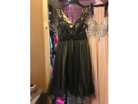 Long peach dress and black and gold dress for sale