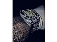 Cartier Santos XL automatic iced ap audemars piguet Rolex patek phillipe hublot Richard mille ice