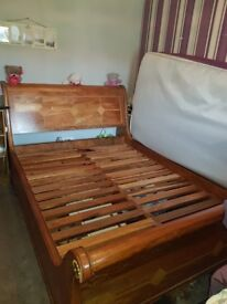 Solid Wood Sleigh King Bed