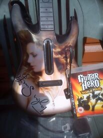 Playstation 3 Guitar Hero Wireless Taylor Swift Guitar, Strap, Wireless Dongle and World Tour Game