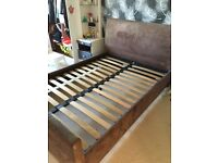 Brown Faux Suede Bed Frame