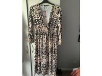 Boohoo leopard print dress size 18