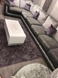 Silver& Grey Large L- Shaped Sofa with a diamonds designed. Excellent Condition.