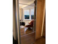 2 wardrobe mirrored sliding doors 223cm x 77cm