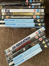 12 DVDs lord of the rings hobbit Poldark some NEW