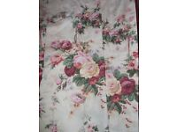 """PAIR OF FLORAL ROSE DESIGN CURTAINS - LOVELY CONDITION - 70"""" X 68"""""""