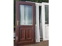 ** uPVC Double Glazed Front / Back Woodgrain Rosewood Brown Door Ref D4