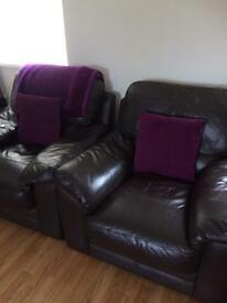 2 Dark Brown Leather Arm Chairs