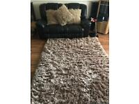 Dunelm Large Mink Shaggy Rug with 3 Matching Cushions