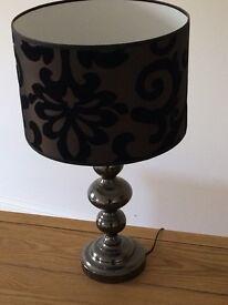 Large Black Lamp with Velvet Detail