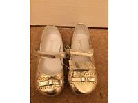 Brand New - Monsoon Girls Gold Shoes size 6 infant