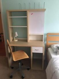 Desk, chair and shelf