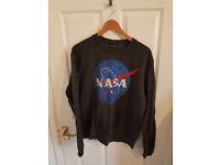 NASA (BUZZ ALDRIN) Size large (size 12 fit) Dark grey jumper