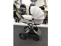 Stokke Trailz Pram - Ex Display Grey Melange with Carrycot, Rain Covers & Mosquito Net