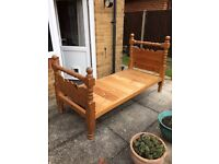 Solid antique pine single bed