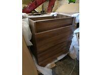 walnut coloured two drawer bathroom vanity unit
