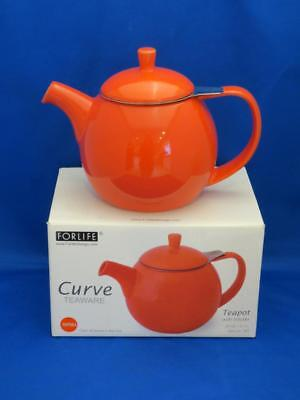 curve paprika red orange teapot w stainless