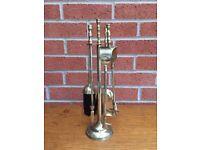 Vintage 5 Piece Fireside Brass Companion Set