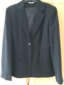 Ladies Black Lined M&Co Jacket with front button fastening Size 12