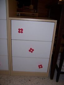 White bedside cabinet with pink flowers at Cambrige Re-Use (cambridge reuse)
