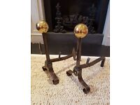 Pair of Beautiful Metal Fireplace Andirons with Brass Ball