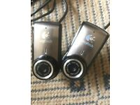 2xLogitech Webcams 2MP HD Video Sensr Wide Ang Lens Autofocus, M'phone, Auto Light Corr Must Collect