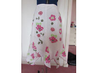 M&S Per Una white floral fully lined cotton skirt Size 12R