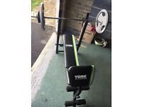 INCLUDED: Weights totalling 70kg (see breakdown), Bench, Barbell, 2xDumbbells (with all locks)