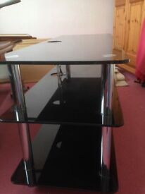 Large glass and stainless tv and media stand