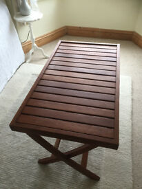 Habitat coffee table for sale. Slatted wood. Folds up when not in use
