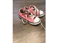 Pink infant size 7 low tops converse trainers