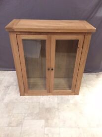 Solid Oak Wood and glass Small Display Cabinet Storage Furniture