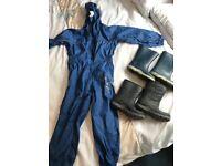 Regatta Waterproof Jumpsuit (aged 3-4) / Wellies & Winter Boots Bundle (infant size 9)
