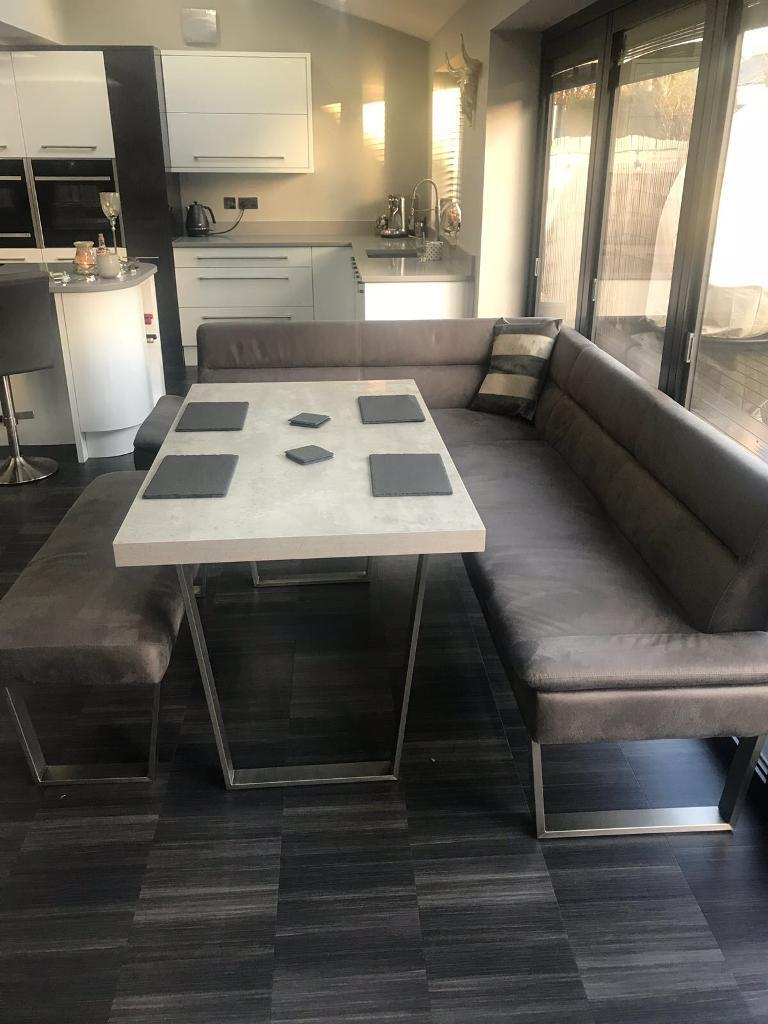 Caspian Corner Dining Set Grey Nearly New 5 6 Seater Bought From Housing Units Dec 2017 For 163
