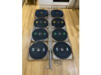 "BRAND NEW 120kg Olympic bumper barbell set 2"" 2 inch 7 foot 20kg weight weights plates bar crumb gym"