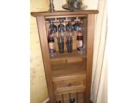 Wooden wine cabinet and glass storage