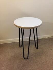 Retro side table with hair pain legs