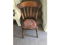 Antique country kitchen style dining chair, solid wood