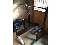 Olympic barbell + squat rack + weights + flat bench