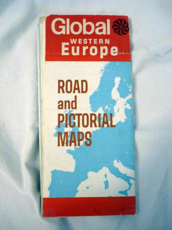 VINTAGE 1960 GLOBAL WESTERN EUROPE ROAD AND PICTORIAL MAPS  MADE IN USA