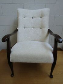 wooden armchair in cream fabric with crystal buttons