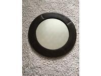 Dark brown faux leather round circular mirror