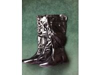Patent knee high boots(size 6)